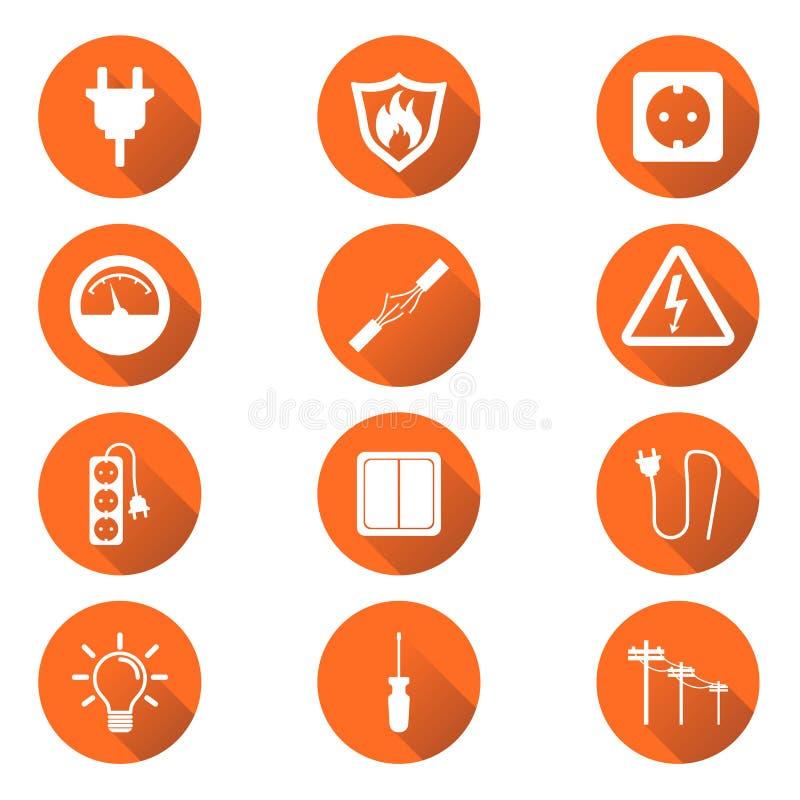 Icono de la electricidad Vector el ejemplo en estilo plano en el ci anaranjado libre illustration