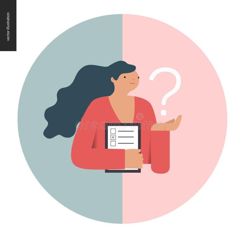 Icono de la encuesta en un círculo stock de ilustración