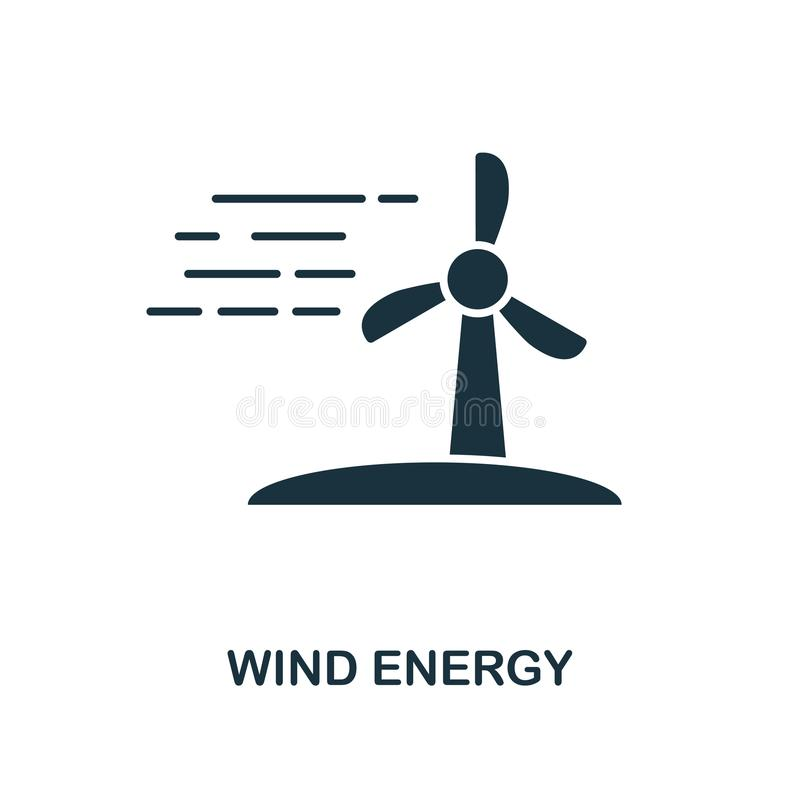 icono de la energía eólica Diseño monocromático del estilo de la colección del icono del poder y de la energía Ui Energía eólica  libre illustration