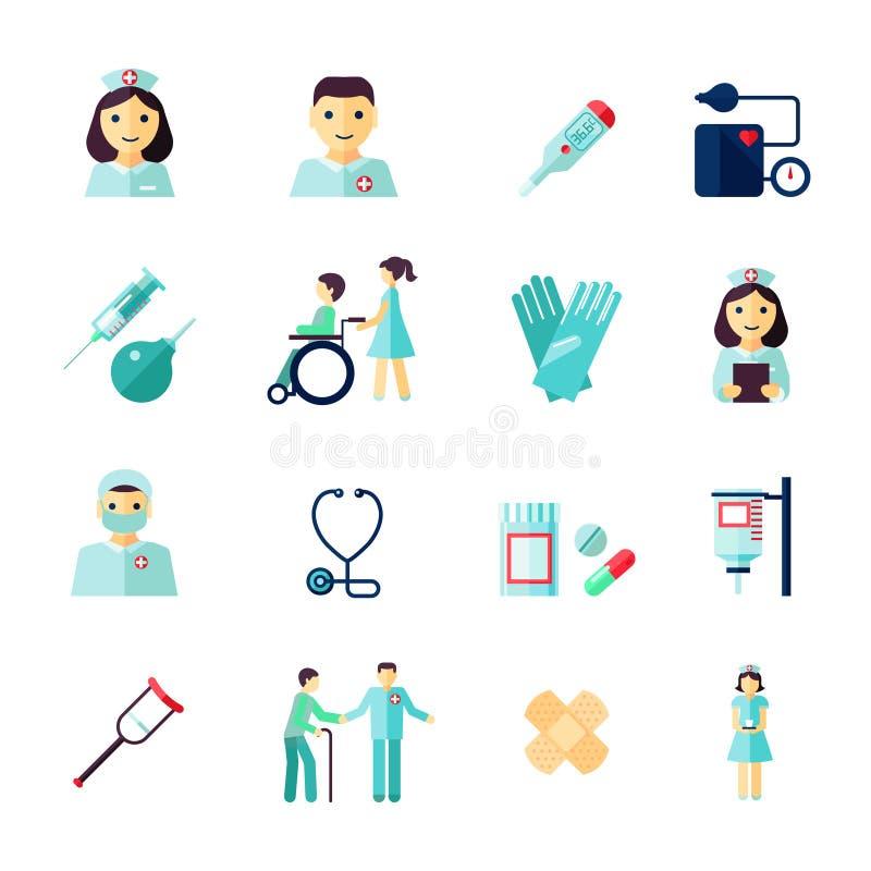 Icono de la enfermera plano stock de ilustración