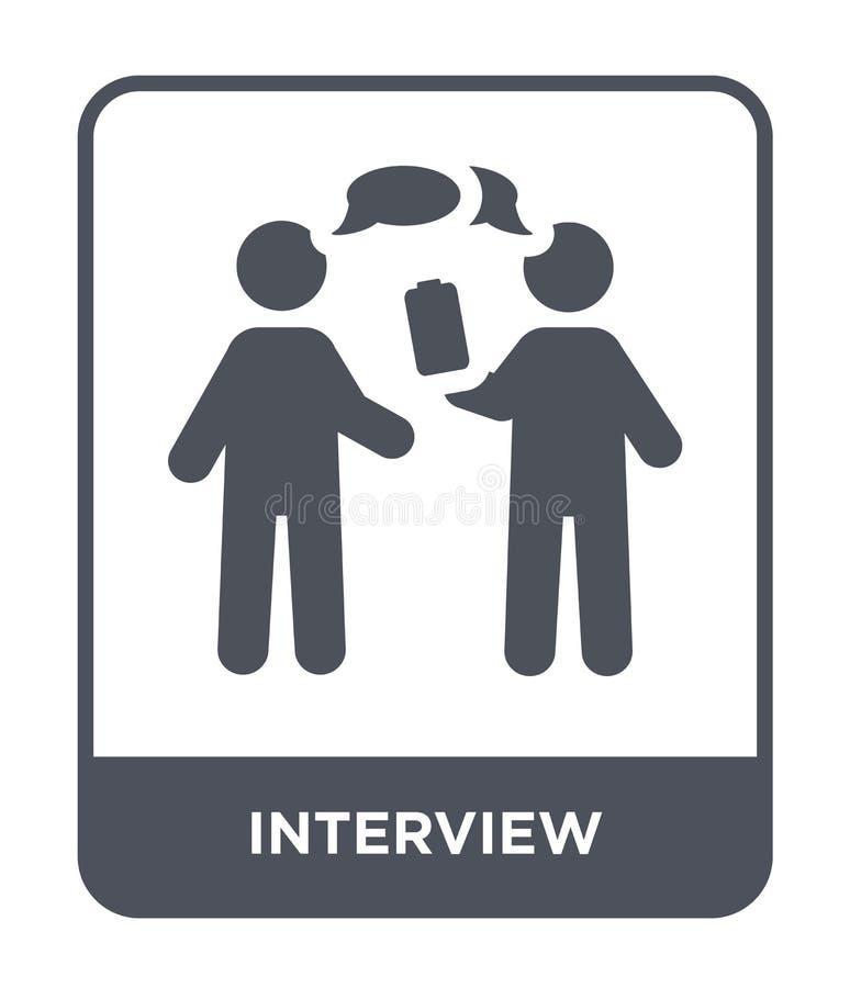 icono de la entrevista en estilo de moda del diseño icono de la entrevista aislado en el fondo blanco plano simple y moderno del  stock de ilustración