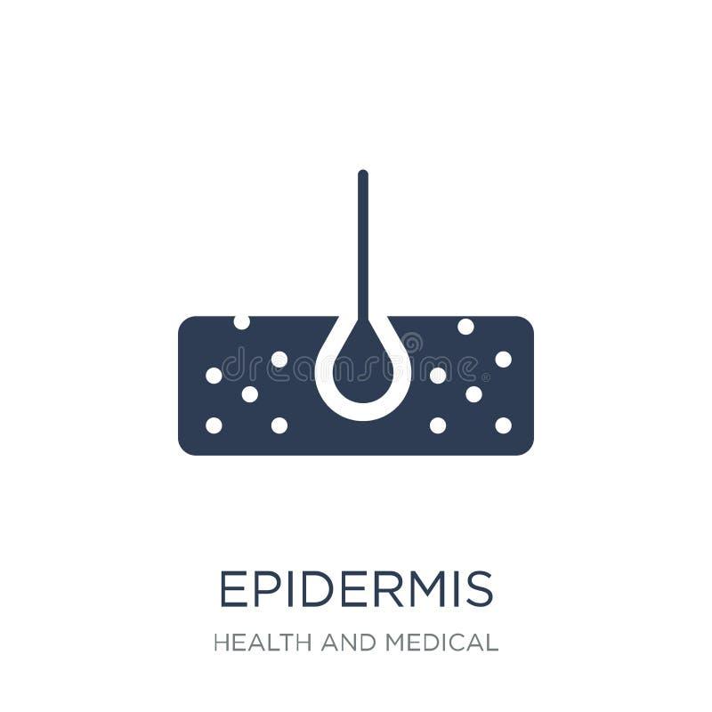 Icono de la epidermis Icono plano de moda de la epidermis del vector en el backg blanco stock de ilustración