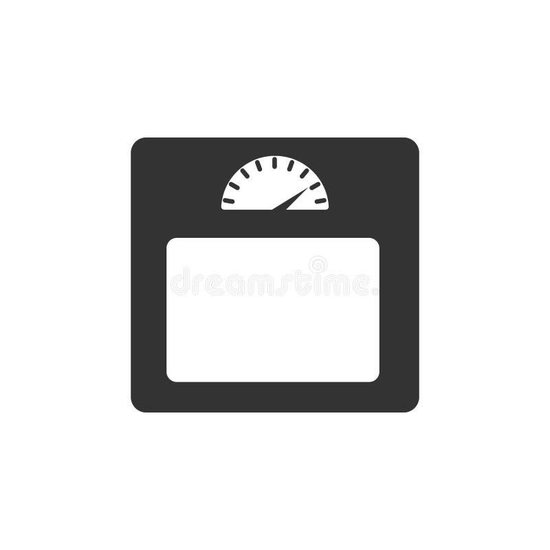 Icono de la escala del peso del cuarto de baño Ejemplo simple del elemento Diseño del símbolo de la escala del peso del cuarto de stock de ilustración