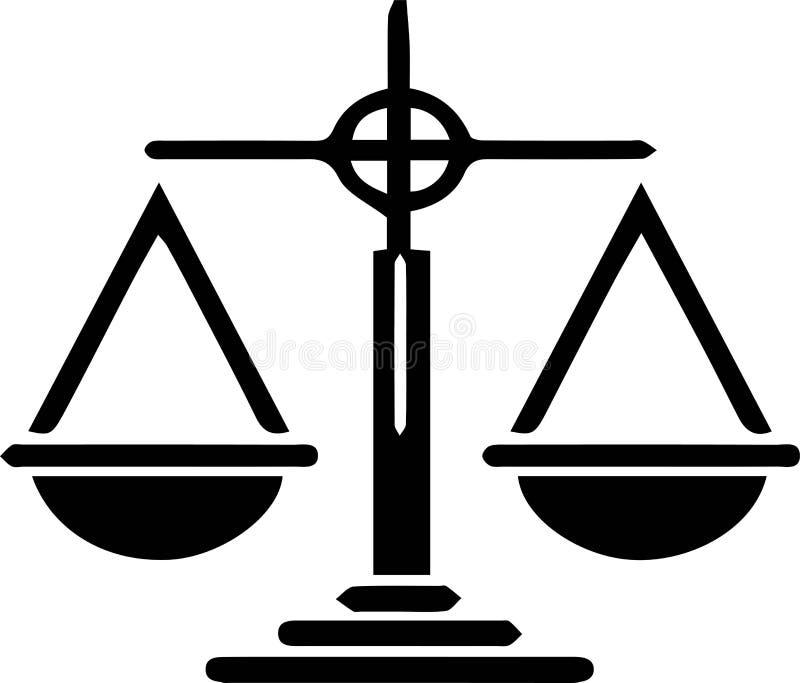 Icono de la escala de la justicia en el fondo blanco stock de ilustración