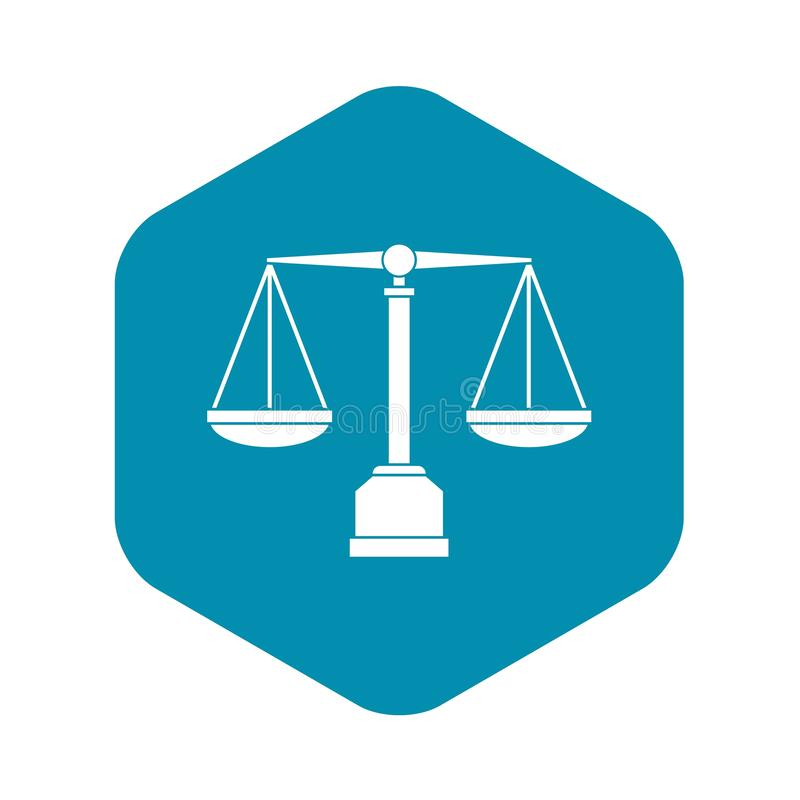 Icono de la escala de la justicia, estilo simple stock de ilustración