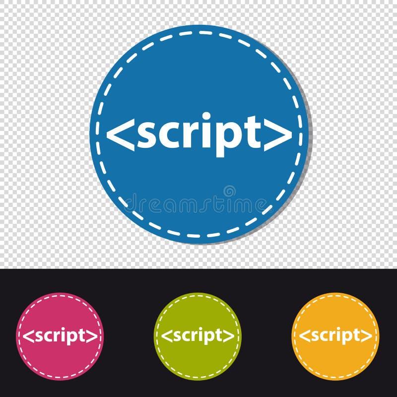 Icono de la escritura - muestra de programación del lenguaje - ejemplo colorido del vector stock de ilustración