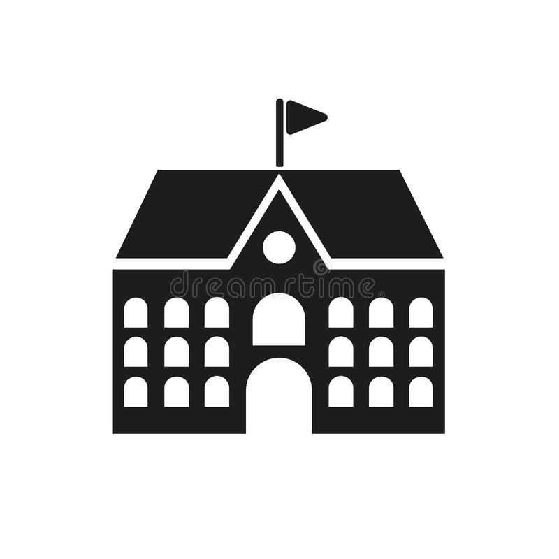 Icono de la escuela Campus y universidad, símbolo del edificio Dise?o plano Acci?n - ejemplo del vector fotos de archivo libres de regalías