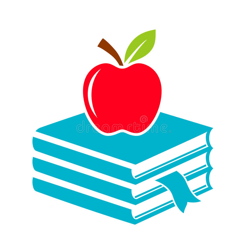 Icono de la escuela de Apple y de los libros ilustración del vector