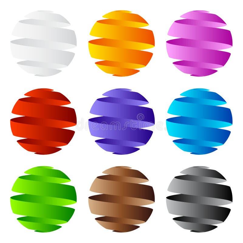 icono de la esfera 3D y diseño de la insignia stock de ilustración