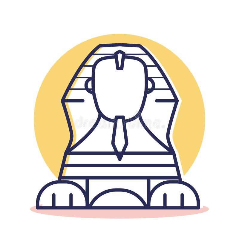 Icono de la esfinge - viaje y destino stock de ilustración