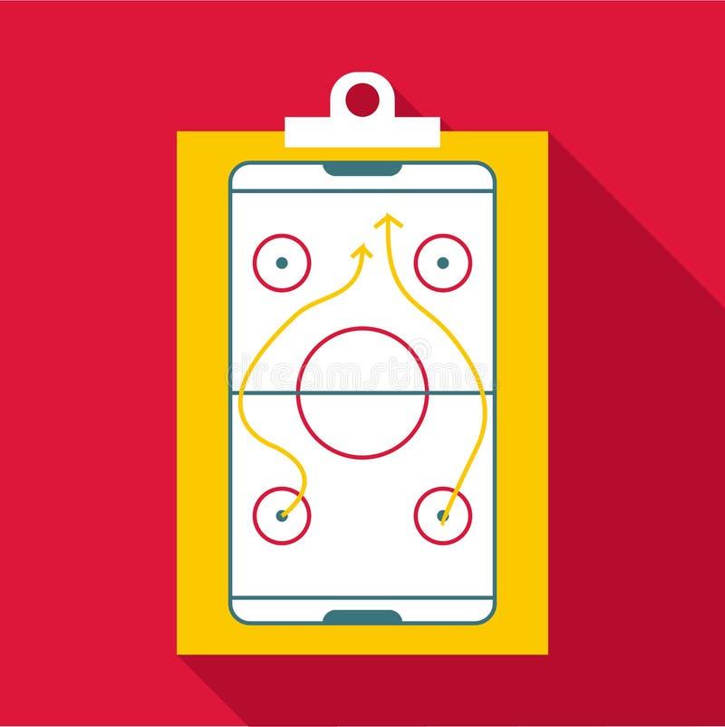 Icono de la estrategia de hockey, estilo plano ilustración del vector