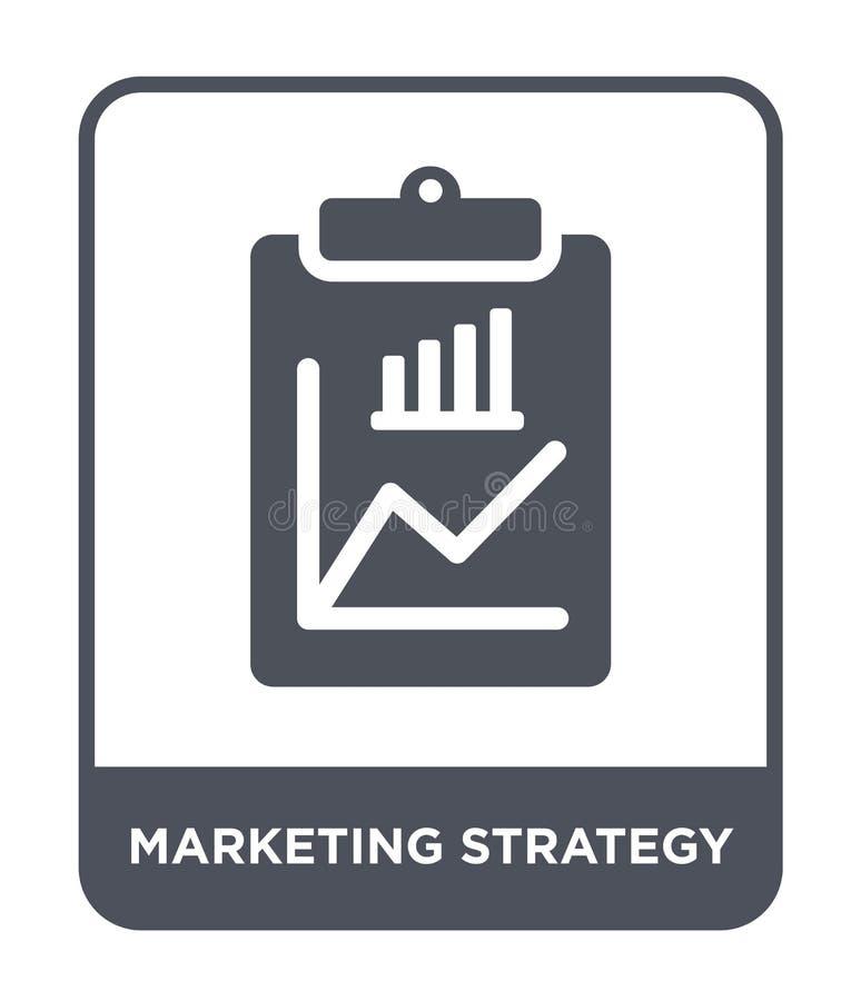 icono de la estrategia de marketing en estilo de moda del diseño icono de la estrategia de marketing aislado en el fondo blanco V ilustración del vector