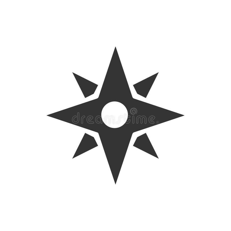 Icono de la estrella del compás stock de ilustración