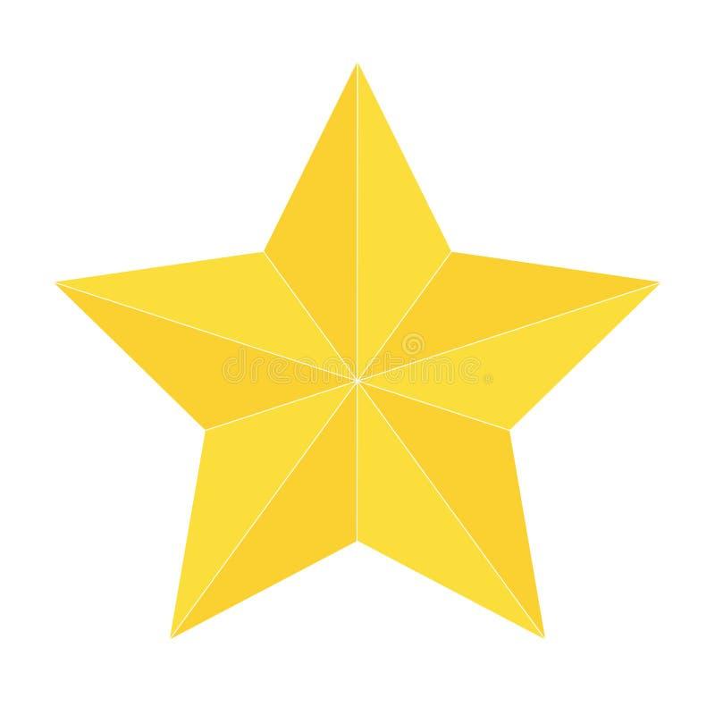 Icono de la estrella del oro aislado stock de ilustración