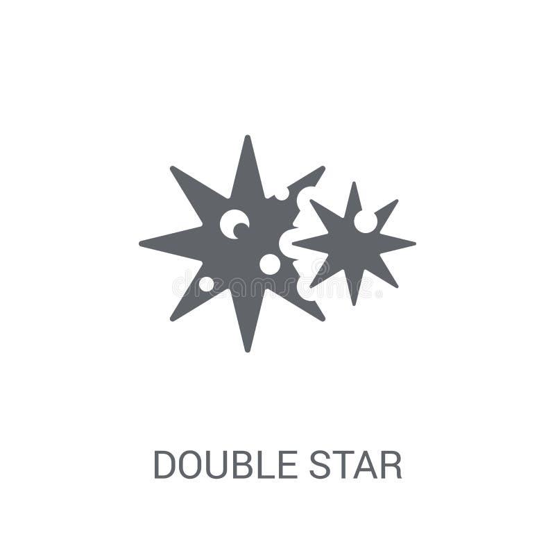 Icono de la estrella doble  stock de ilustración