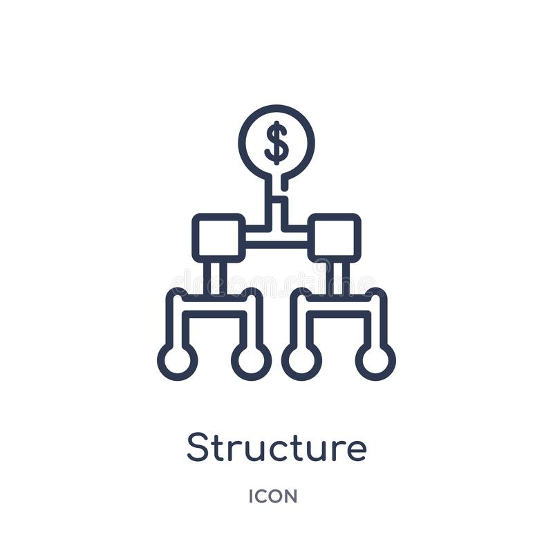 Icono de la estructura linear de la colección del esquema del negocio Línea fina icono de la estructura aislado en el fondo blanc ilustración del vector