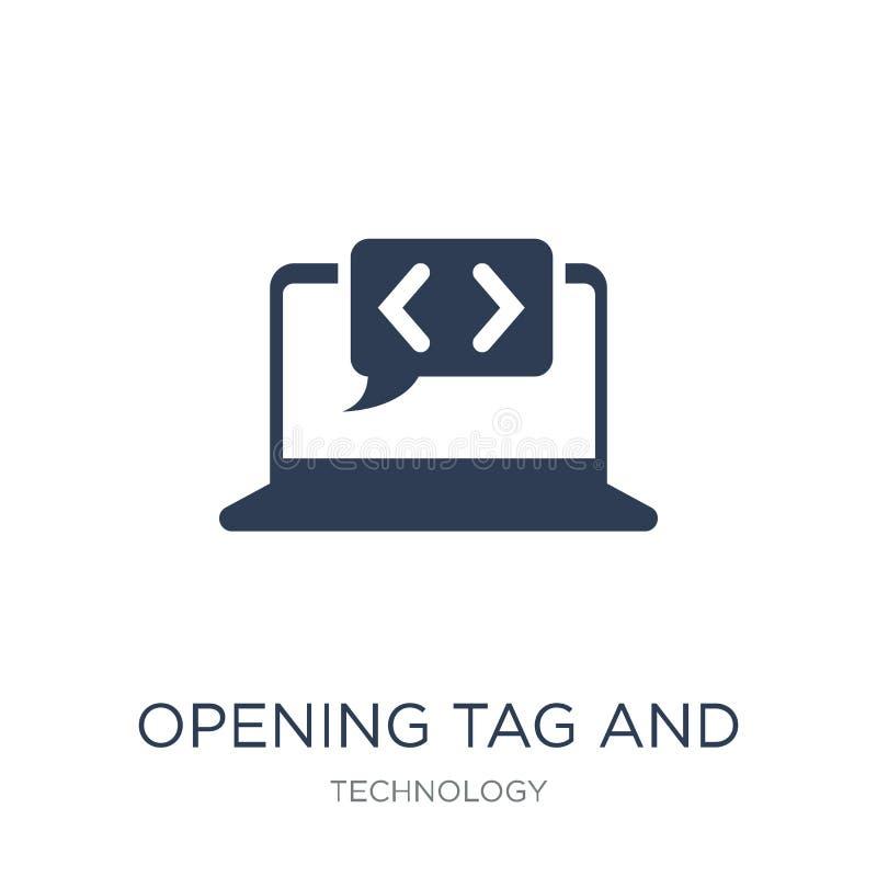 Icono de la etiqueta de apertura y de las etiquetas de cierre Vector plano de moda que abre TA stock de ilustración