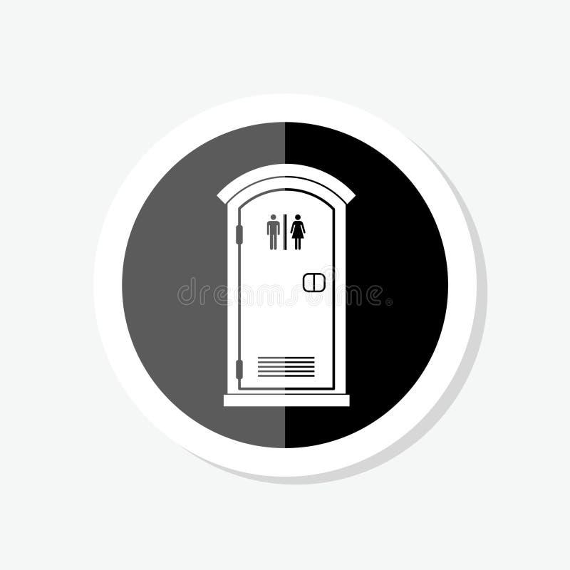 Icono de la etiqueta engomada del retrete público Muestra simple para el concepto y el diseño web móviles ilustración del vector