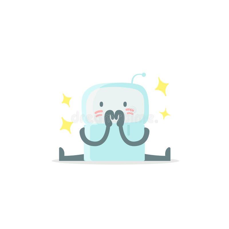 Icono de la etiqueta engomada de Emoji Robot lindo del bebé el pequeño nuevo sorprendido y arroja Muy lindo para la confusión de  stock de ilustración