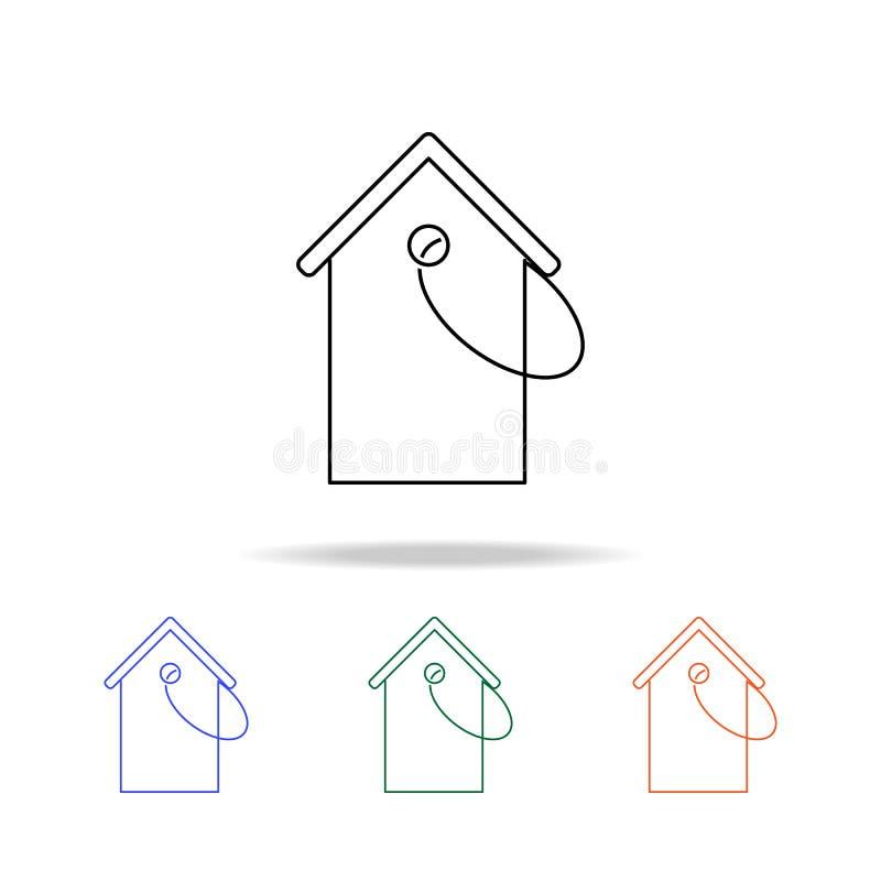 Icono de la etiqueta de precio de la vivienda Elementos de las propiedades inmobiliarias en iconos coloreados multi Icono superio ilustración del vector