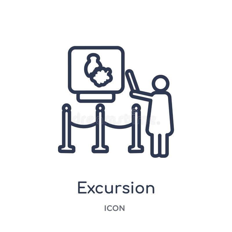 Icono de la excursión de la colección del esquema del museo Línea fina icono de la excursión aislado en el fondo blanco ilustración del vector