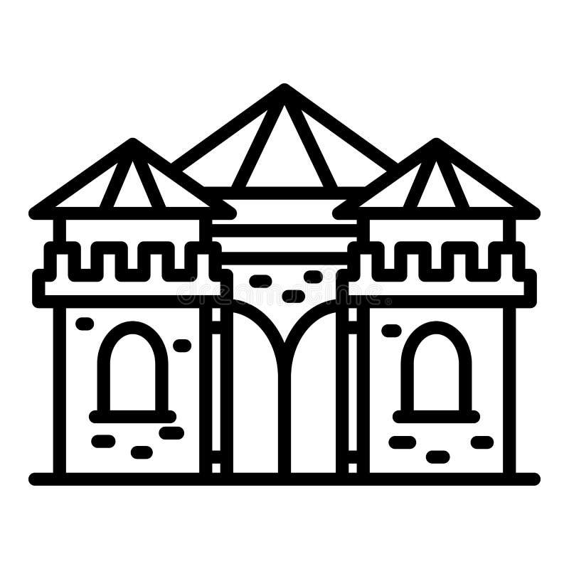 Icono de la excursión del castillo, estilo del esquema stock de ilustración