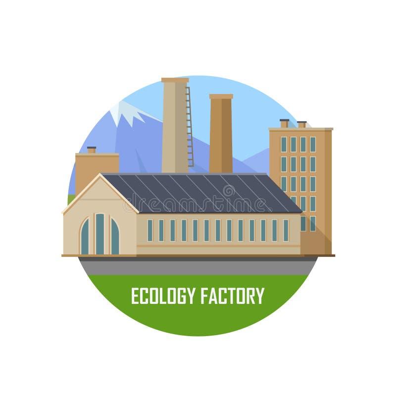 Icono de la fábrica de la ecología stock de ilustración