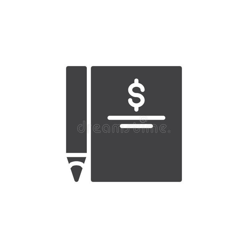 Icono de la factura del dólar y del vector de la pluma ilustración del vector