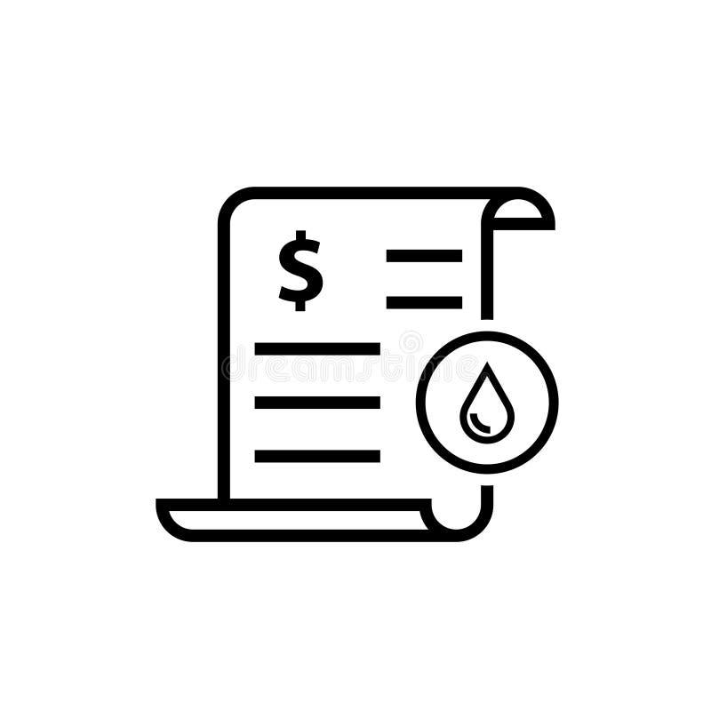 Icono de la factura de servicios públicos del agua stock de ilustración