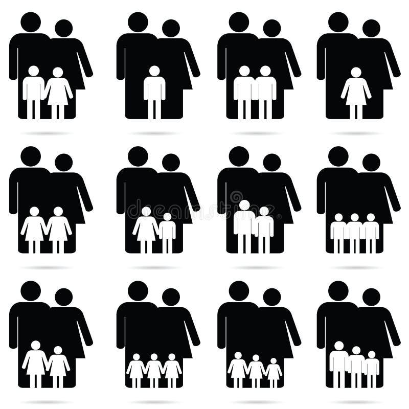 Icono de la familia fijado en el ejemplo de color blanco y - Familias en blanco y negro ...