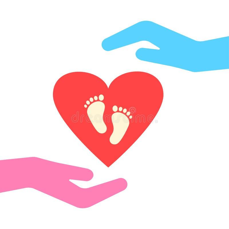 Icono de la familia Muestra del embarazo El cuidar para un ni?o Dos manos protegen el coraz?n con huellas Vector stock de ilustración