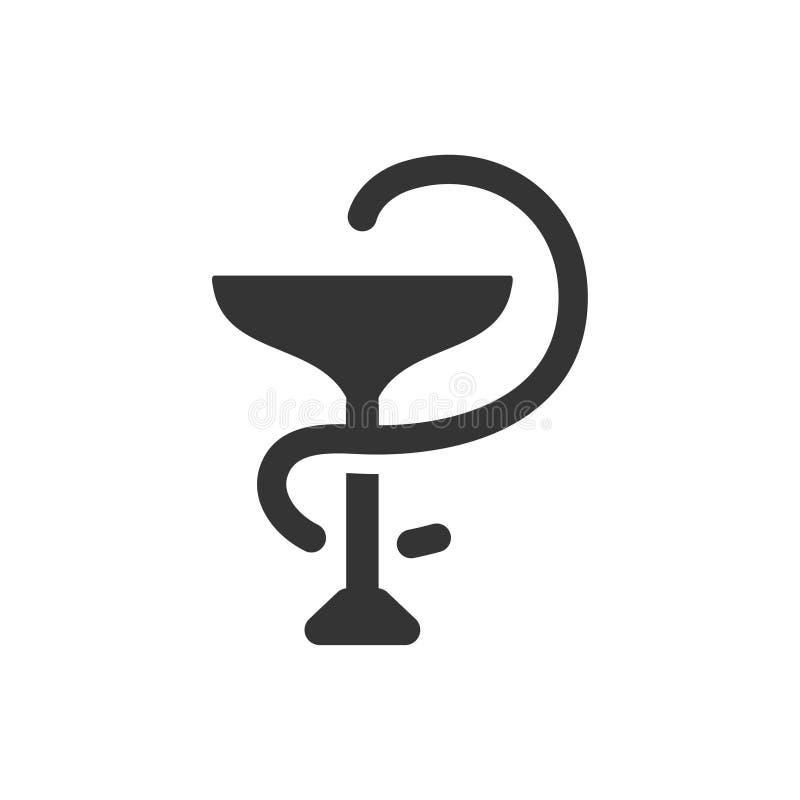 Icono de la farmacia con el icono del caduceo stock de ilustración