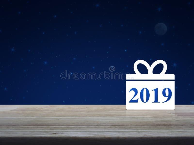 Icono 2019 de la Feliz Año Nuevo de la caja de regalo fotografía de archivo