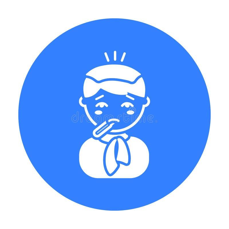 Icono de la fiebre Escoja el icono enfermo de la enfermedad grande, enfermedad stock de ilustración