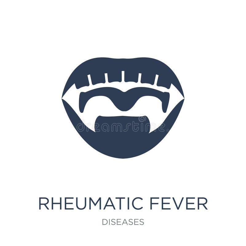 Icono de la fiebre reumática Icono plano de moda de la fiebre reumática del vector encendido stock de ilustración