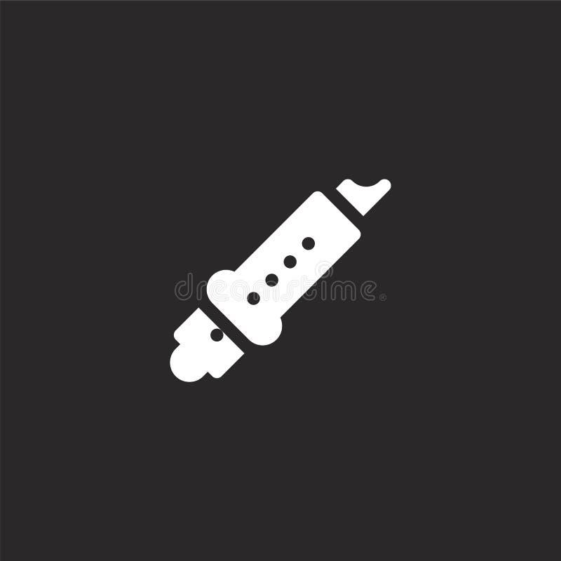 Icono de la flauta Icono llenado de la flauta para el diseño y el móvil, desarrollo de la página web del app icono de la flauta d stock de ilustración