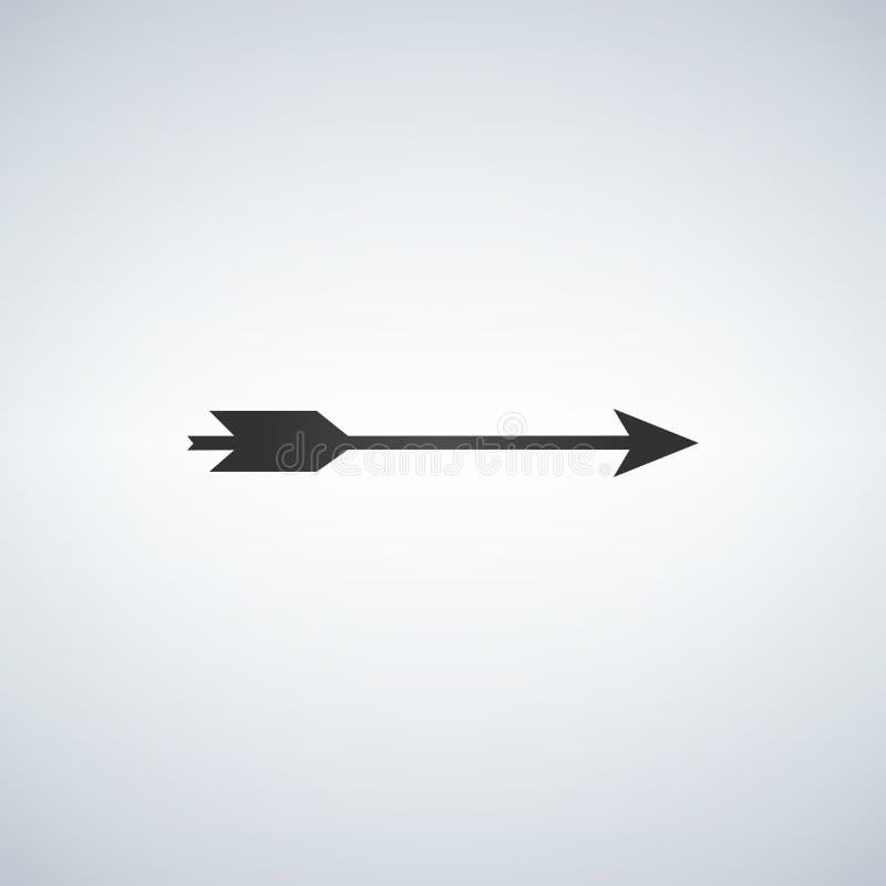 Icono de la flecha del arco plano Pictograma negro en el fondo blanco Símbolo del ejemplo del vector stock de ilustración