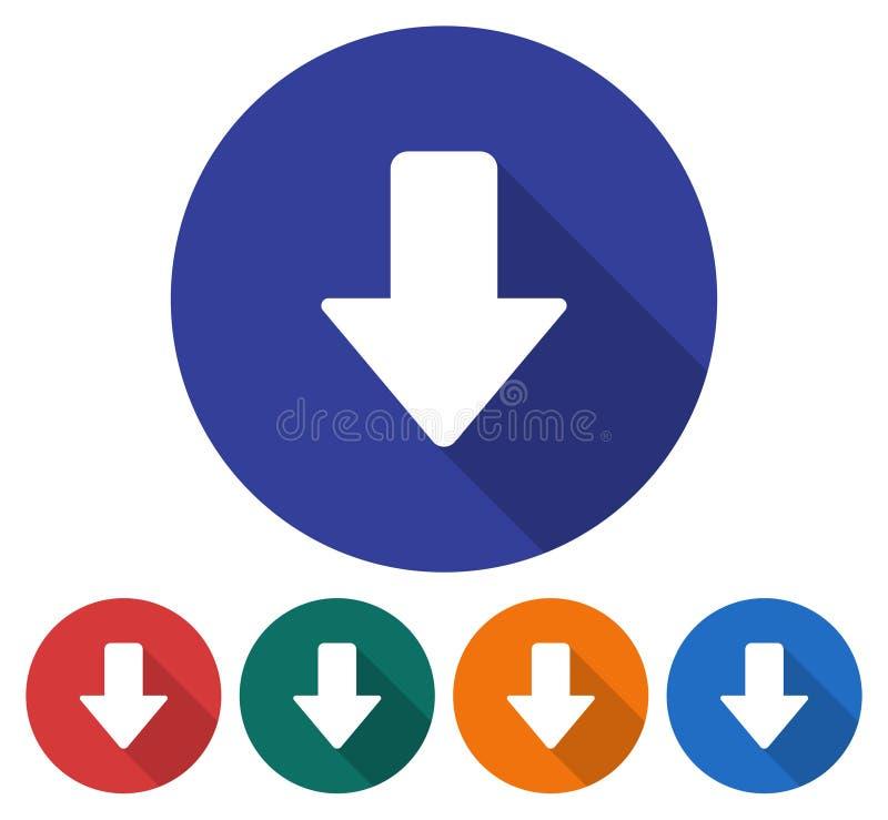 Icono de la flecha de la dirección hacia abajo stock de ilustración