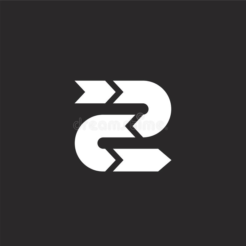Icono de la flecha Icono llenado de la flecha para el diseño y el móvil, desarrollo de la página web del app icono de la flecha d stock de ilustración