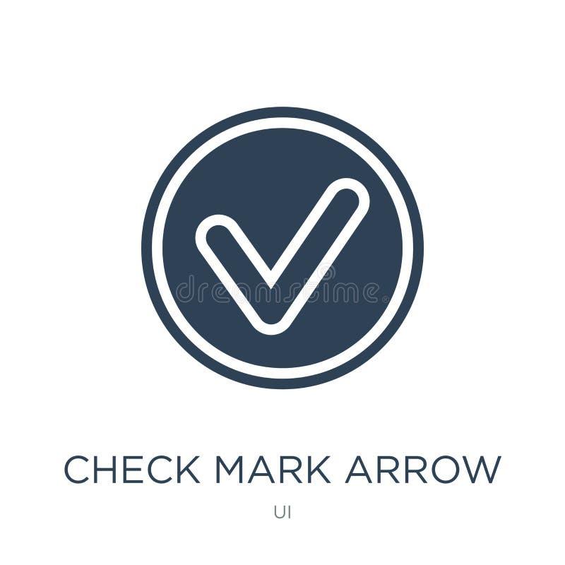 icono de la flecha de la marca de verificación en estilo de moda del diseño icono de la flecha de la marca de verificación aislad libre illustration