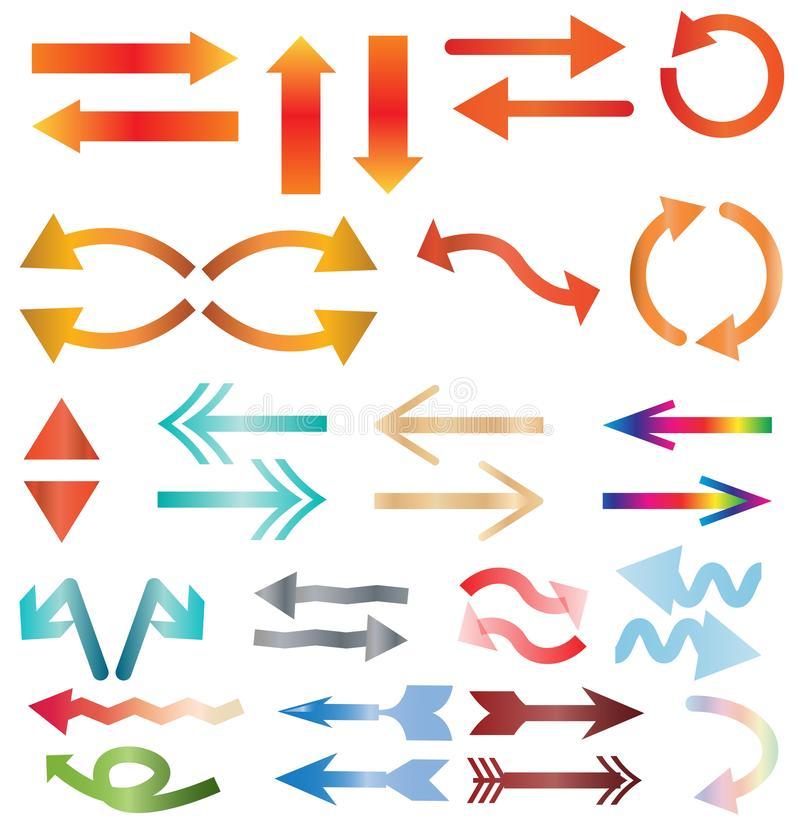 Icono de la flecha de Multicolors en el fondo blanco ilustración del vector