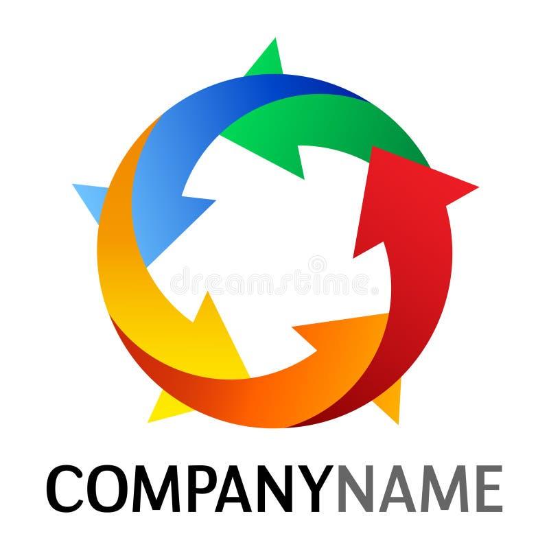 Icono de la flecha y diseño de la insignia stock de ilustración
