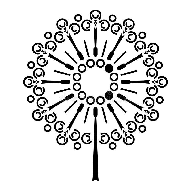 Icono de la flor del diente de león, estilo simple ilustración del vector