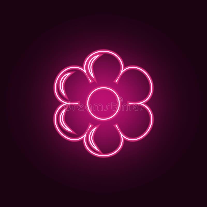 Icono de la flor Elementos de la ecolog?a en los iconos de ne?n del estilo Icono simple para las p?ginas web, dise?o web, app m?v ilustración del vector