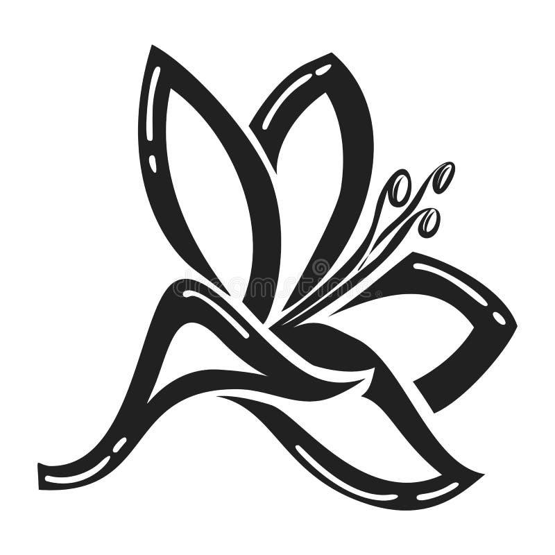 Icono de la flor de Plyumeriya, estilo simple stock de ilustración