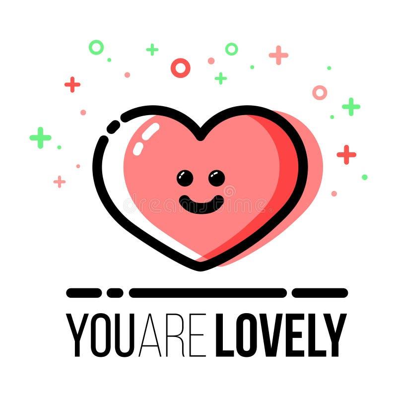 Icono de la forma del corazón para la tarjeta de felicitación de Valentine Day del santo Línea estilo plana ilustración del vector