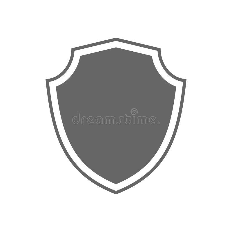Icono de la forma del escudo Muestra gris de la etiqueta, aislada en blanco Símbolo de la protección, brazos, honor de la capa, s ilustración del vector