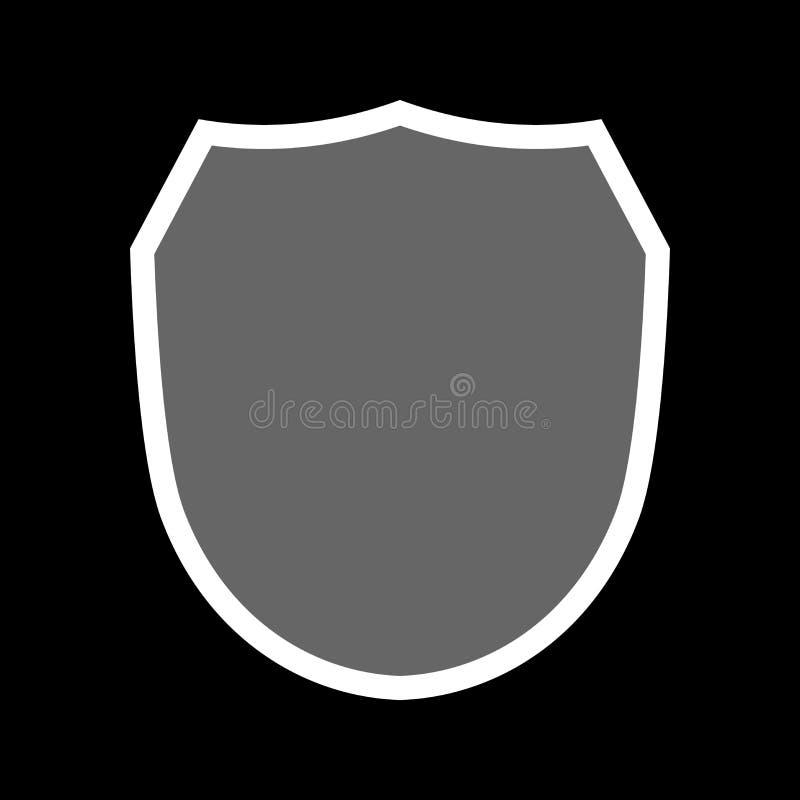 Icono de la forma del escudo Muestra gris de la etiqueta, aislada en negro Símbolo de la protección, brazos, honor de la capa, se libre illustration