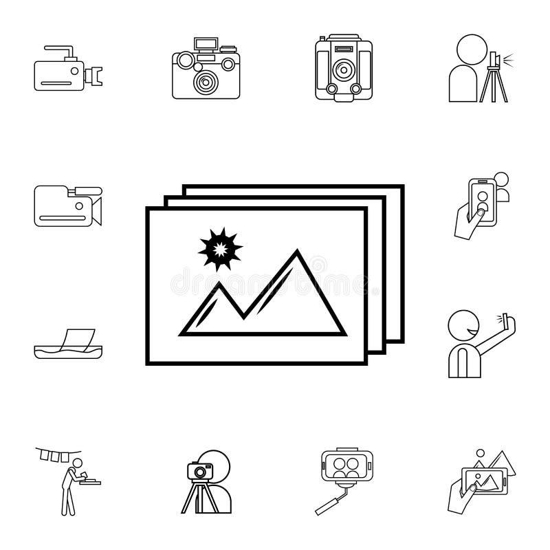 Icono de la foto Sistema detallado de iconos de la cámara de la foto Icono superior del diseño gráfico de la calidad Uno de los i ilustración del vector