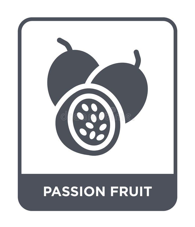 icono de la fruta de la pasión en estilo de moda del diseño icono de la fruta de la pasión aislado en el fondo blanco icono del v stock de ilustración